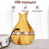 Ультразвуковий зволожувач повітря аромадиффузор з LED підсвічуванням NBZ Mini Atomization Humidifier Light Wood, фото 4