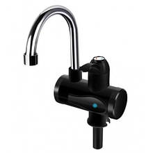 Проточний кран-водонагрівач Delimano Чорний для умивальника або кухні з LCD екраном з нижнім підключенням