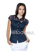 Блуза с ажурными плечиками темно-синий
