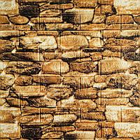 Глянцевая 3Д панель стеновая Камни Булыжники 5 шт моющиеся 3d панели для стен каменная кладка 700x770x5мм, фото 1