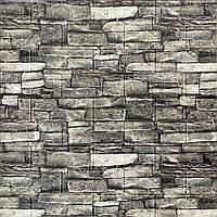 Глянцевая 3Д панель стеновая Серый Камень 5 шт моющиеся 3d панели для стен каменная кладка 700x770x5мм, фото 1