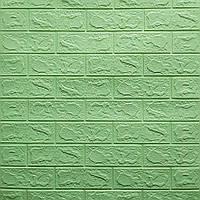 3д панель декор стін Зелений Цегла М'ята самоклеючі 3d панелі для стін м'які ПВХ 700x770x3 мм, фото 1