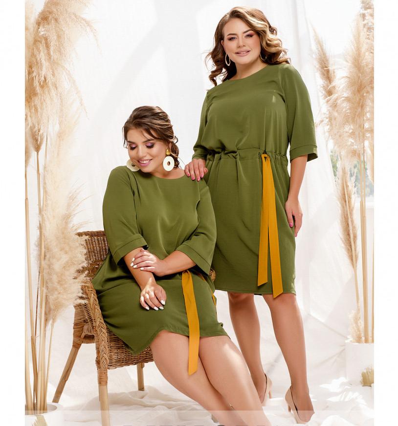 / Розмір 50-52,54-56,58-60,62-64,66-68 / елегантне Жіноче мінімалістичне плаття міді / 2304-Хакі