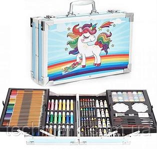 Художественный набор для творчества   145 предметов в алюминиевом чемоданчике   Набор для творчества Единорог