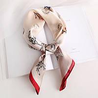 Модный платок шелковый кофейный на шею 70*70 см