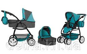 Коляска для ляльки 2в1 CARRELLO AVANTI 9662 MIDDLE BLUE з сумкою
