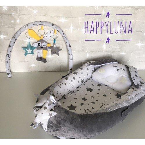 Кокон-гніздечко для новонароджених з тримачем для іграшок і ортопедичною подушкою Плюшева мрія