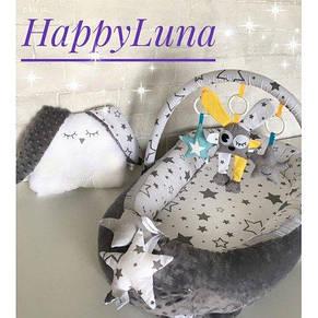 Кокон-гніздечко для новонароджених з тримачем для іграшок і ортопедичною подушкою Плюшева мрія, фото 2