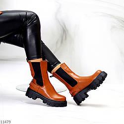 Высокие модные коричнево-рыжие женские ботинки челси с эластичными вставками по бокам