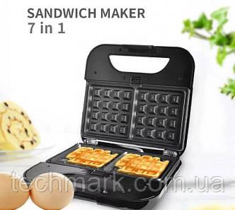 Вафельница бутербродница сендвичница гриль орешница электрическая 7в1 со съемными формами DSP KC-1162 800W