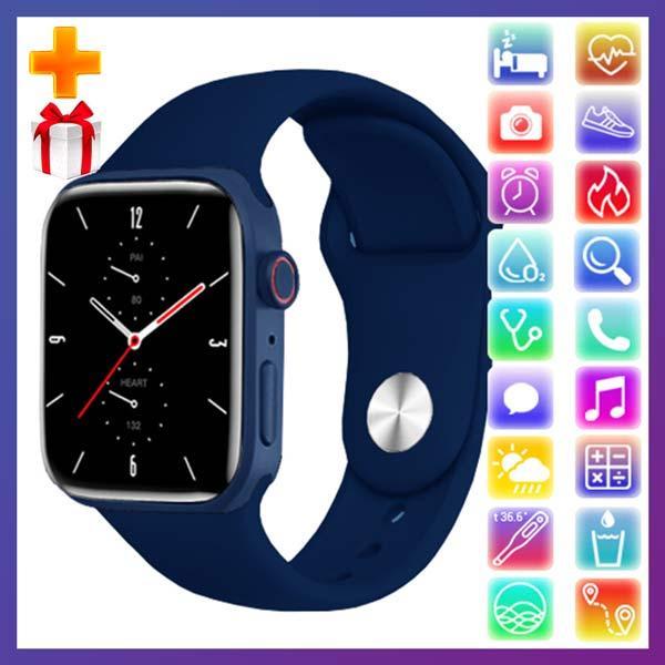 Смарт часы Фитнес браслет трэккер Apl Watch Series 7 Z36 пульсометром тонометром синие + Подарок