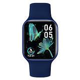 Смарт часы Фитнес браслет трэккер Apl Watch Series 7 Z36 пульсометром тонометром синие + Подарок, фото 2