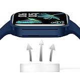 Смарт часы Фитнес браслет трэккер Apl Watch Series 7 Z36 пульсометром тонометром синие + Подарок, фото 4