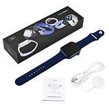 Смарт часы Фитнес браслет трэккер Apl Watch Series 7 Z36 пульсометром тонометром синие + Подарок, фото 5
