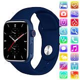 Смарт часы Фитнес браслет трэккер Apl Watch Series 7 Z36 пульсометром тонометром синие + Подарок, фото 7