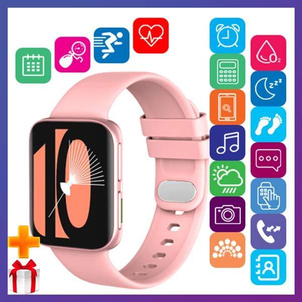 Смарт часы Фитнес браслет трэккер Smart Watch GT9 пульсометром тонометром голосовой вызов розовые + Подарок