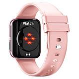 Смарт часы Фитнес браслет трэккер Smart Watch GT9 пульсометром тонометром голосовой вызов розовые + Подарок, фото 3