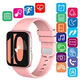 Смарт часы Фитнес браслет трэккер Smart Watch GT9 пульсометром тонометром голосовой вызов розовые + Подарок, фото 6