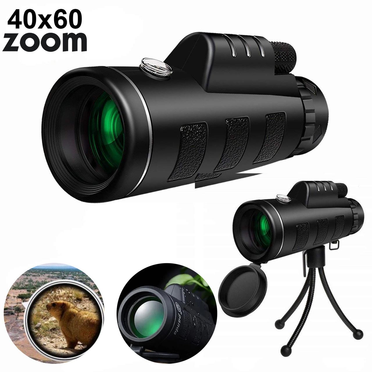 Мощный монокуляр для смартфон с треногой  Panda Vision 40x60 подзорная труба с двойной фокусировкой