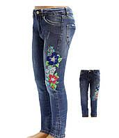 Джинсы для девочки с вышивкой (цветы), E&H (размер 10(140))
