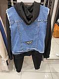 Женский  трикотажный брендовый костюм с жилетом, (Турция); Размеры:S M L XL,Цвет: черный., фото 2