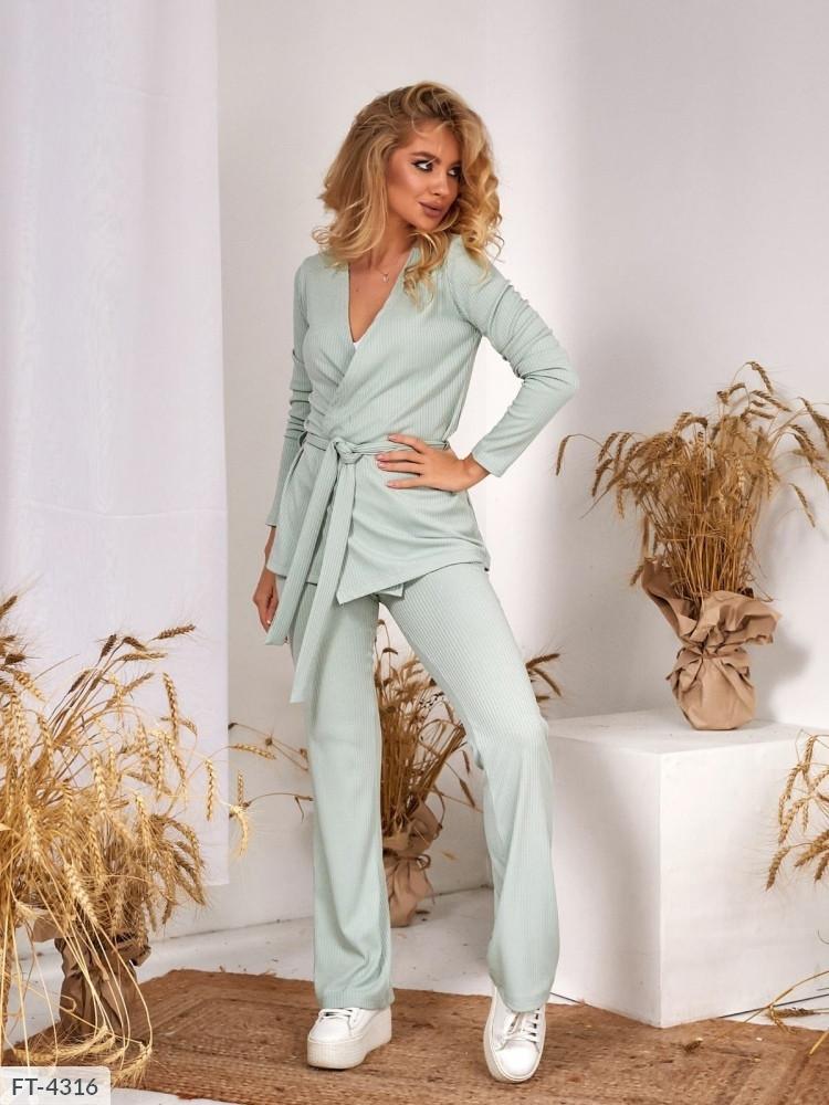 Жіночий брючний костюм штани з кардіганом в рубчик на весну-осінь р-ри 42-48 арт. 1222