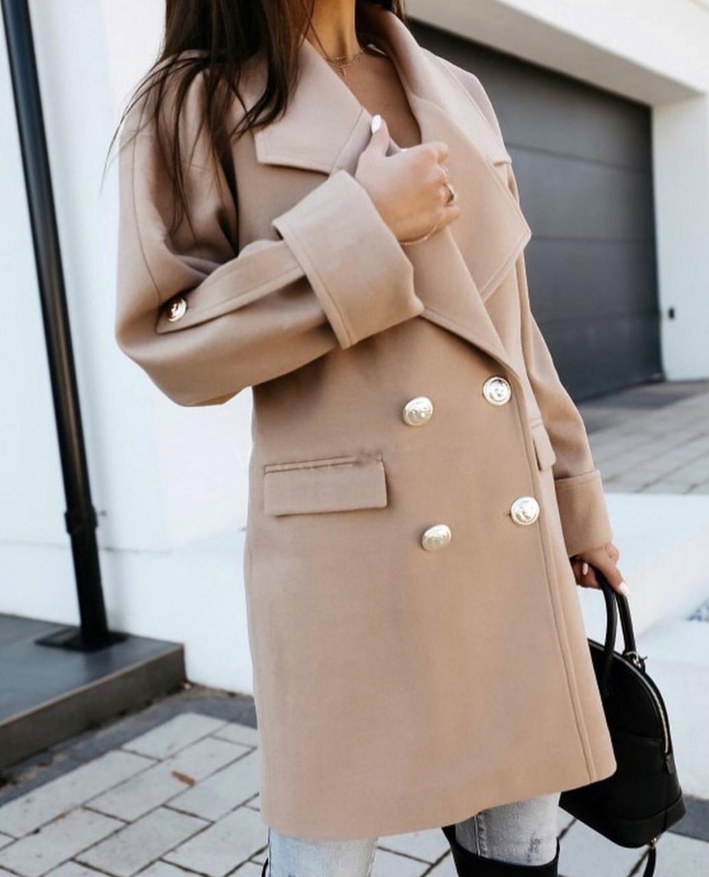 """Молодежное батальное теплое кашемировое пальто прямого кроя """"Jenny"""". Удобное короткое однотонное пальто из"""