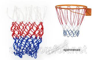 Баскетбольна сітка Стандарт SP-Planeta UR SO-5251 (поліпропілен, d-4,5 мм, білий-червоний-синій, в компл. 1шт)
