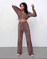 Женский трендовый спортивный костюм из плюшевого велюра кофта укороченная на молнии, фото 1