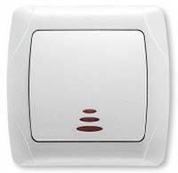 Выключатель одноклавишный с подсветкой белый 90561019 VIKO CARMEN