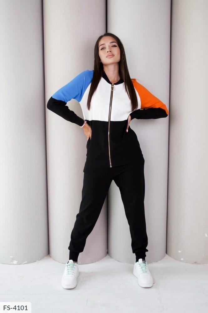 Прогулянковий в'язаний костюм жіночий модний триколірний з подовженою кофтою на блискавці арт. 950