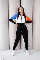 Прогулянковий в'язаний костюм жіночий модний триколірний з подовженою кофтою на блискавці арт. 950, фото 1