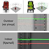 Лазерний рівень Clubiona RT-22 5 ліній 6 точок нівелір Червоні лінії, фото 8