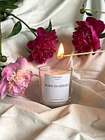 Свеча Born in Odessa с деревянным фитилем ручная работа. Декоративная арома свеча в стакане