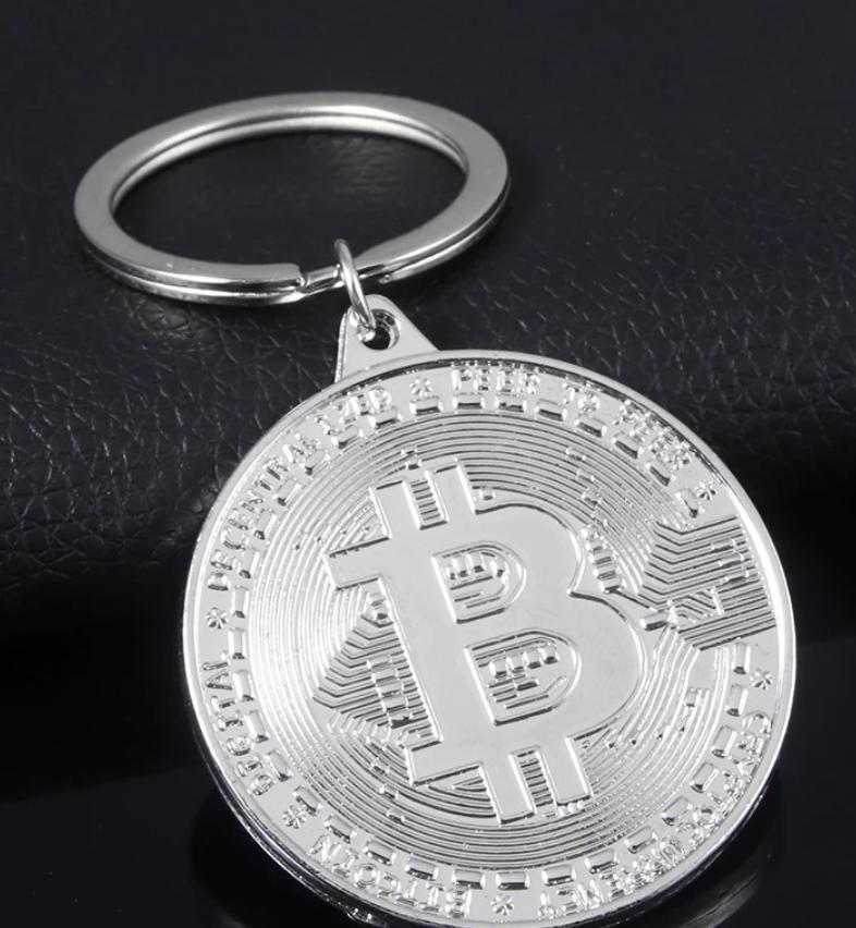 Брелок на ключи металл биткоин Bitcoin монета серебристый металл