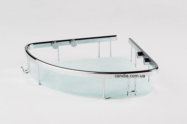 Полка в ванную со стеклом 19x19 см хромированными заглушками