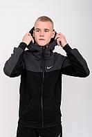 Мужской Спортивный Костюм Молодежный Зимний найк, Спортивные костюмы мужские Флисовые черный Nike