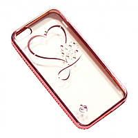 Чехол на iPhone 6/6s силиконовый прозрачный, с сердечком в камушках, с бампером под металл в камушках COV-051