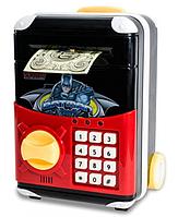 Дитячий іграшковий сейф 1808Z з електронним кодовим замком, скарбничка валізу на колесах Супергерої, фото 1