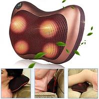 Масажна Подушка MASSAGE PILLOW QY-8028 Інфрачервоний роликовий масажер для шиї і спини Коричнева, фото 1