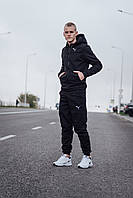 Мужские Спортивные Костюмы зима для прогулок Puma, Мужской Спортивный костюм Черный теплый Пума
