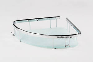 Полка для ванной со стеклом 19x19 см угловая