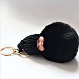 """Брелок  для ключей, сумки """"Пушистое счастье"""", черный, фото 2"""
