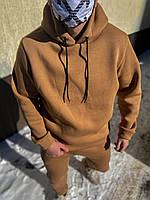 Горчичный оверсайз спортивный костюм мужской с капюшоном зимний на флисе