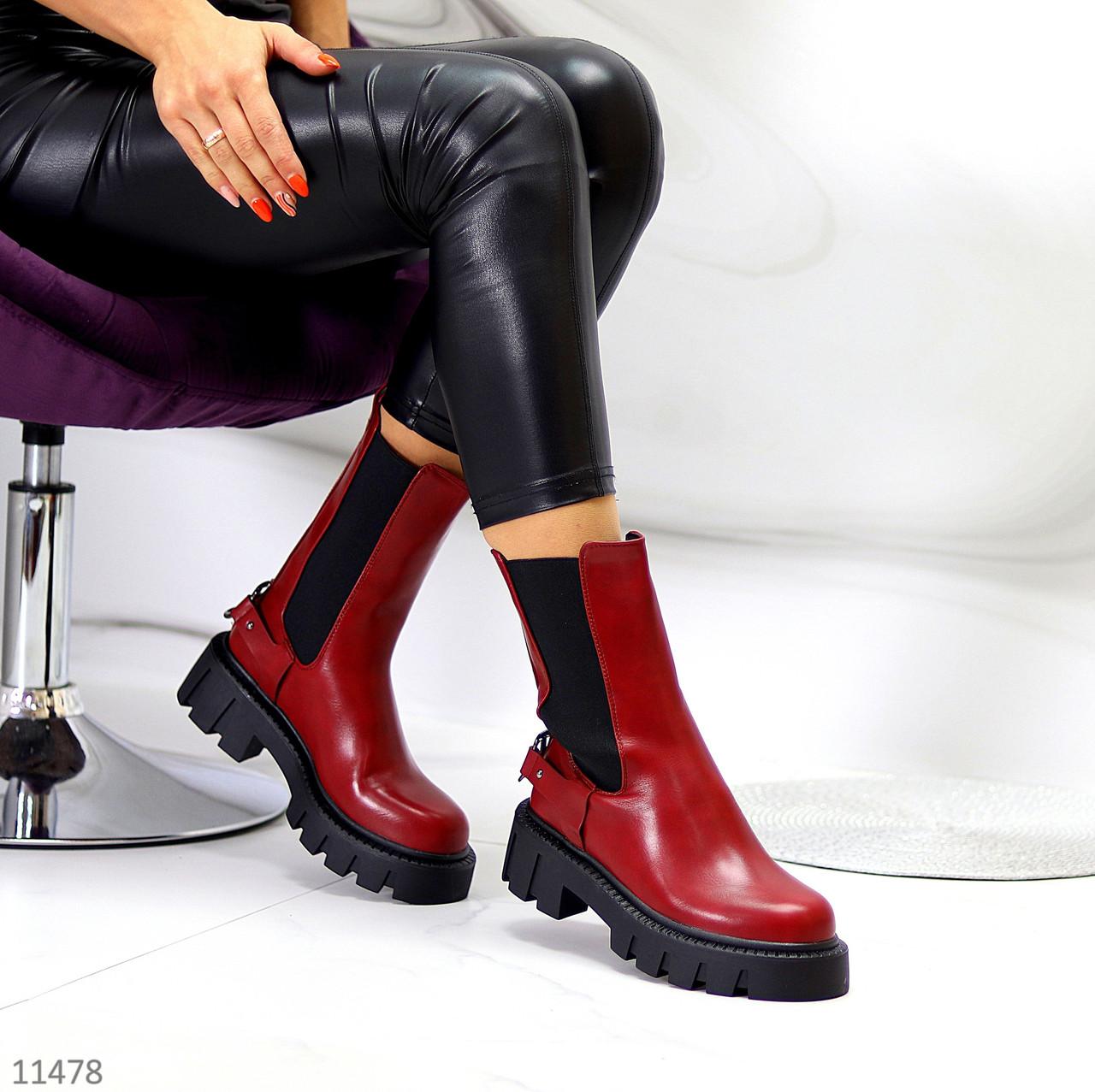 Высокие модные бордовые марсала женские ботинки челси с эластичными вставками по бокам