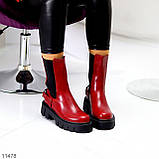 Высокие модные бордовые марсала женские ботинки челси с эластичными вставками по бокам, фото 2