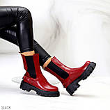 Высокие модные бордовые марсала женские ботинки челси с эластичными вставками по бокам, фото 4