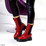 Высокие модные бордовые марсала женские ботинки челси с эластичными вставками по бокам, фото 6
