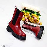 Высокие модные бордовые марсала женские ботинки челси с эластичными вставками по бокам, фото 7