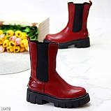Высокие модные бордовые марсала женские ботинки челси с эластичными вставками по бокам, фото 8